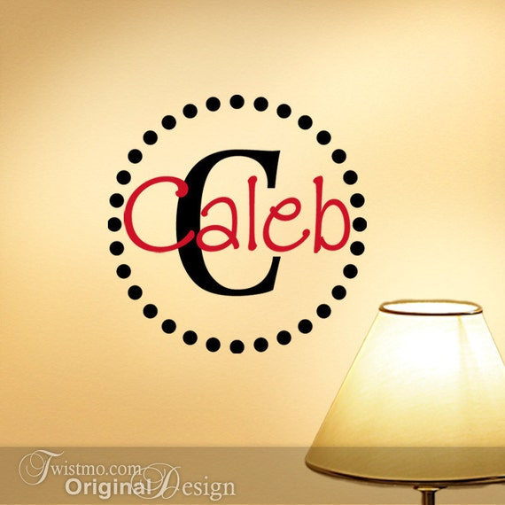 Vinyl Wall Decal Monogram Initial and Name with Circle of Dots