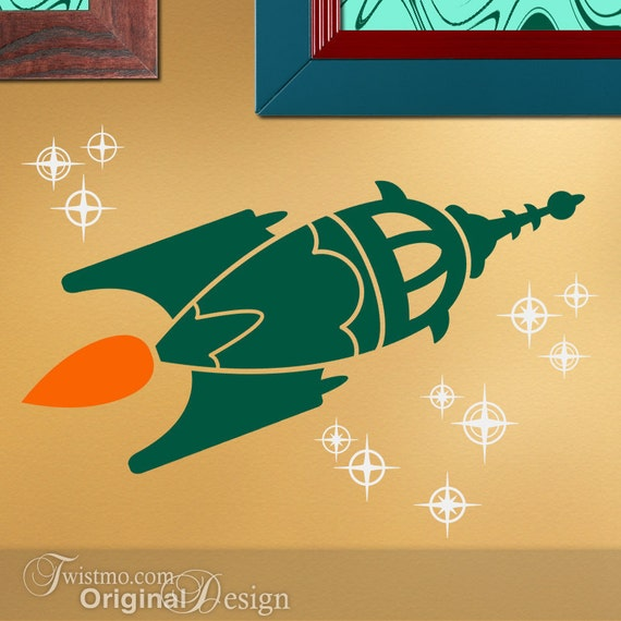 Vinyl wall decal retro rocket ship with stars by twistmo for Outer space vinyl wall decals
