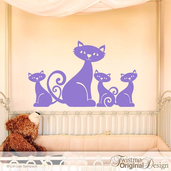 Vinyl Wall Decal: Adorable Mom Cat And 3 Little Kittens Family
