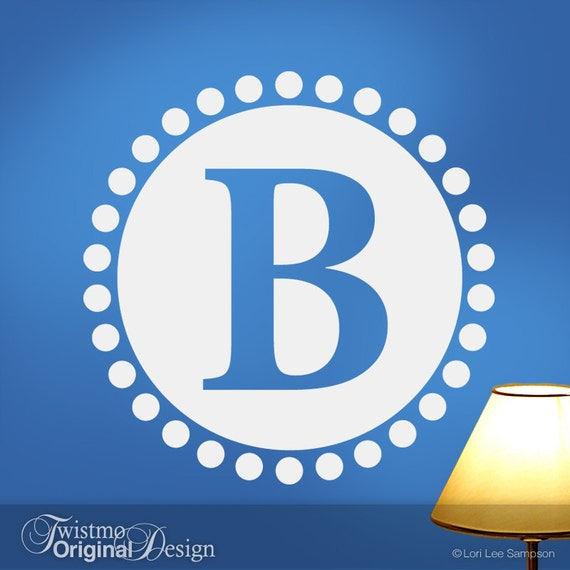 Custom Monogram Decal: Circle of Dots Decor with Large Initial Vinyl Wall Decal