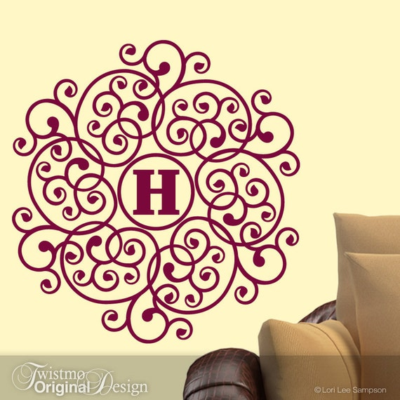Mandala Wall Decal, Custom Monogram Decal, Round Monogram Mandala Art, Custom Initial Wall Decal, Shown in Burgundy Red