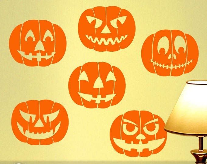 Halloween Decorations Vinyl Wall Decals, Indoor or Outdoor Fall Decoration, Creepy Floating Head Jack O Lantern Pumpkins (001610a6v)