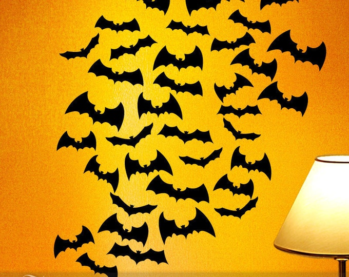 Fall Halloween Decorations for Indoors or Outdoors, Vinyl Wall Decals 36 Flying Black Bats Silhouettes