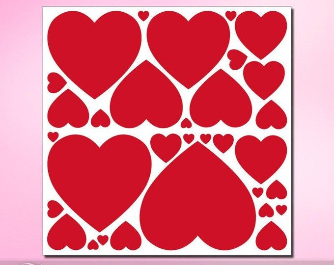 Vinyl Wall Decals: 31 Red Heart Shaped Decals, Valentines Decorations, Heart Decor, removable