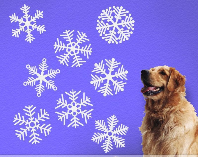 Christmas Decorations, Winter Wonderland Decorations, Winter Woodland Baby Shower, Large Snowflake Vinyl Wall Decals (001610b1v)