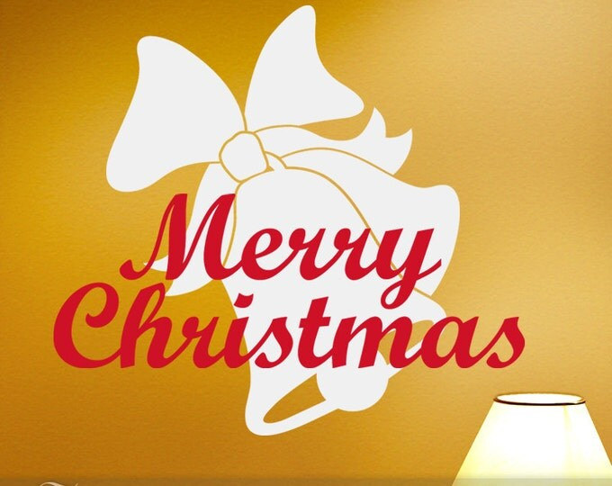 Holiday Season Vinyl Wall Decal: Merry Christmas Decoration with White Bells