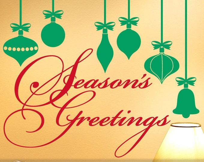 Seasons Greetings Decal | Retro Decor Christmas Ornaments | Holiday Decorations | Christmas Decoration | Holiday Decal | Vinyl Wall Decal