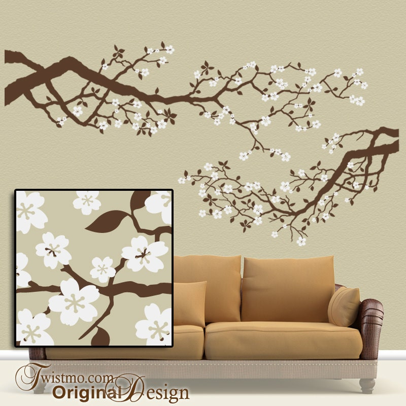 Best Selling Large Vinyl Wall Decal Set Cherry Blossoms Tree