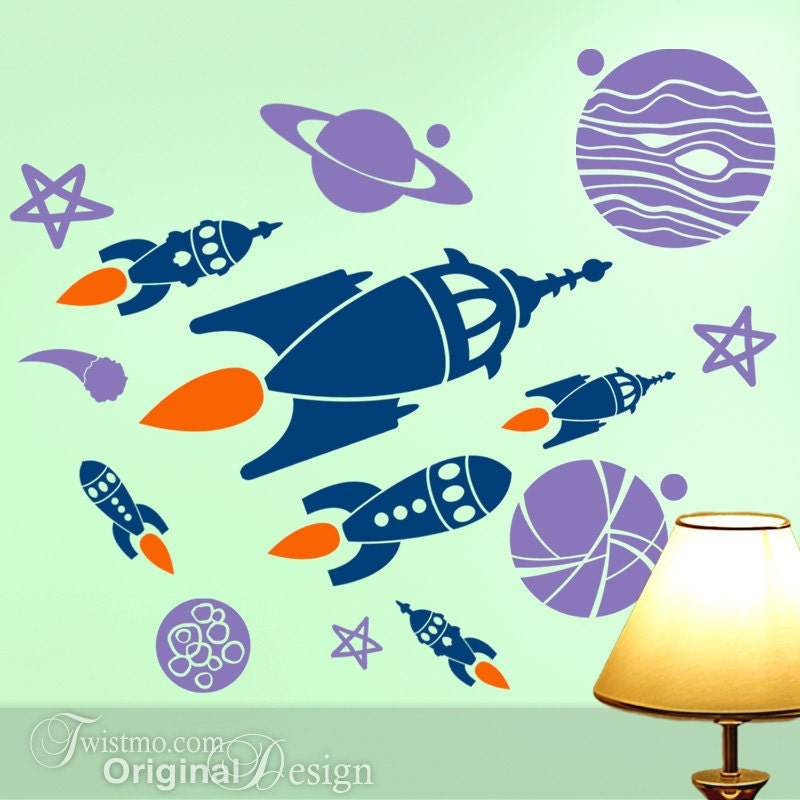 Kids room decor outer space planets spaceships wall decals for Wall decor outer space