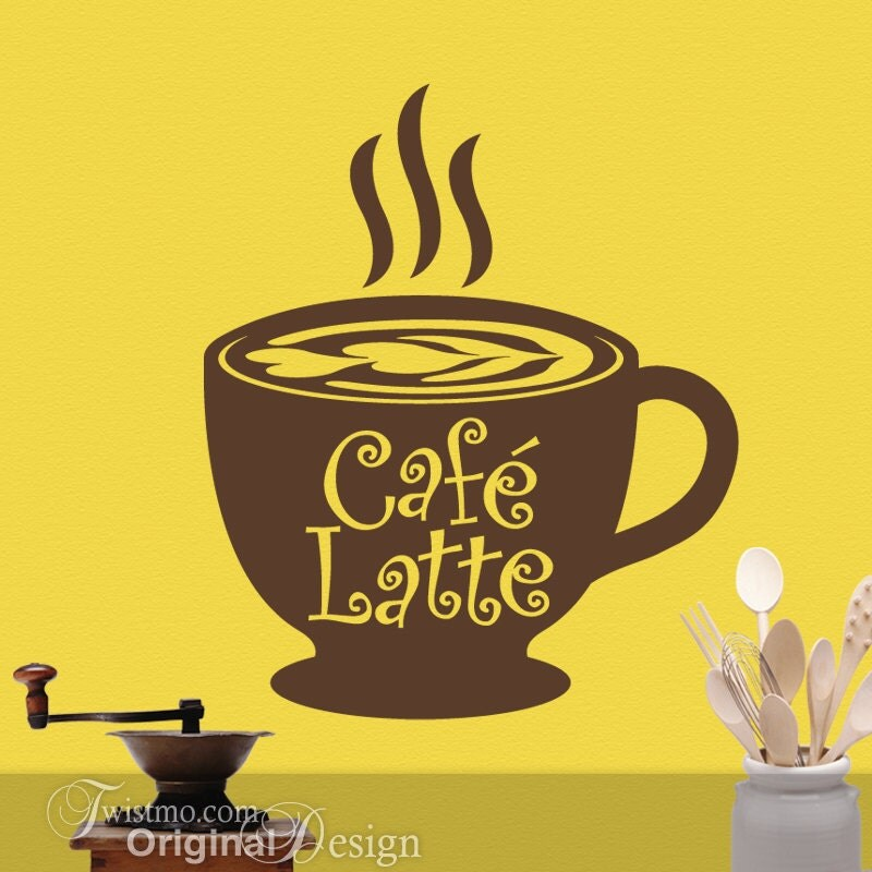 Kitchen coffee decor big coffee mug cafe latte vinyl decal for Mural coffee