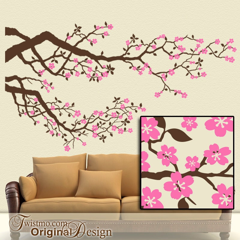 Cherry Blossoms Vinyl Wall Decal Large Tree Branches Set With