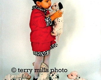 8 Dalmatian Puppies with little girl in Red Dress trimmed with matching spots.  5x7 5X7
