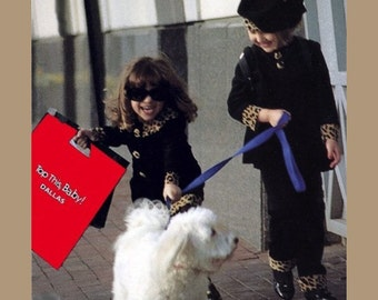 Photo of 2 little girls with red shopping bag and white puppy.    5X7