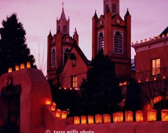 Christmas Church luminaries In  Albuquerque Old Town  8X10
