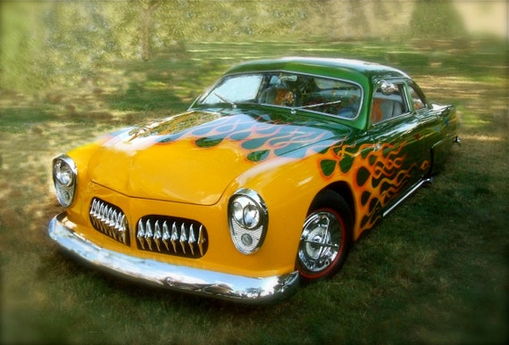 Photo of 1949  Ford  In Great Yellow, Orange and Green Flames   5x7