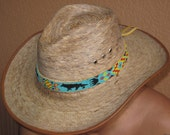 Native American Style Inspired Beaded Wolf Hat Band on Tanned Deer Hide