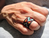 Native American,  Huichol Inspired Colorful Beaded Rings, for Men and Women- YOUR CHOICE Custom Sizing