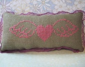 Pink Heart with Wings cross stitch pin cushion