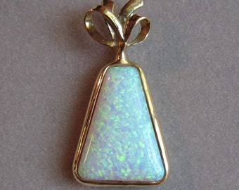 40% OFF!  Opal Pendant in 14K Gold Setting - Bow Tied Triangle (Lab-Created Opal)