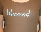 BLESSED - Organic Cotton Maternity Shirt  - in Brown - Size S, L, XL