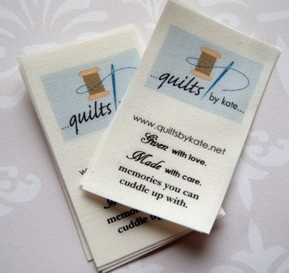 Fabric label. Fold-over tag. Sew in. Seam tab style. 40 LABELS. by TagsandLabels on Etsy.