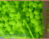 Lime Neon Green Pom Pom Ruffle Braid Embroidered Lace Kids 18 Yards