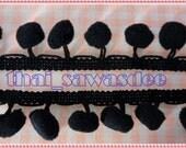 12 mm Black Pom Pom Fringe Tassel Trim Applique Dangling 18 Yards
