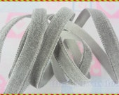 10 MM Gray  Velvet Ribbon Braid Embellishing Decoration Boutique 5 Yards