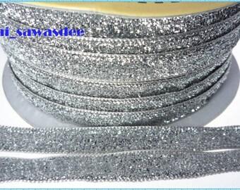 Silver Metallic Velvet Ribbon Sequin Craft Gift Packaging Glitter Tape Embellishments Supply 5 Yards
