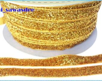 Gold Metallic Ribbon Gift Packaging Scrapbooking Embellishments Sewing Glitter Tape 5 Yards
