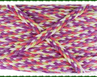 Pink Violet Rainbow Plait Lace Band Gimp Applique Fabric 2 Yards