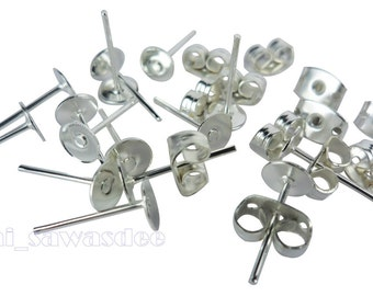 Silver Plated Earrings Pin Pairs Stud Back Lock Post Pad 80 Pieces