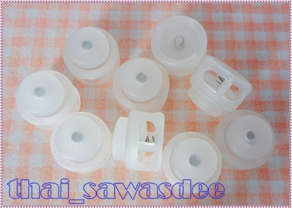 Clear White Round Cord Lock Stopper Toggles Supplies DIY 10 Pieces