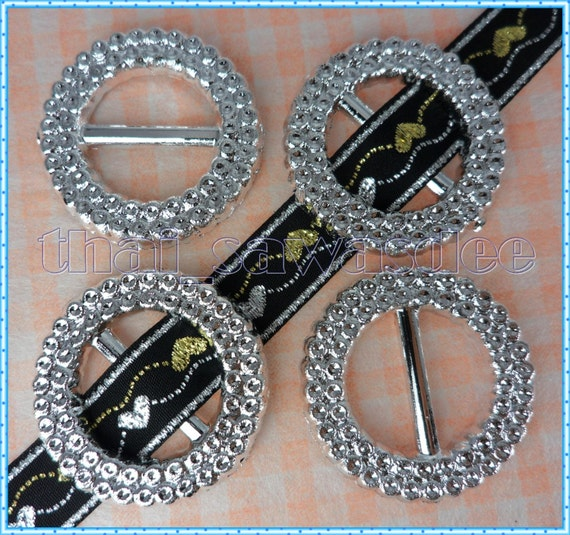Round Shiny Ribbon Buckle Slider Gift Adjuster Bow Collar 15 Pieces