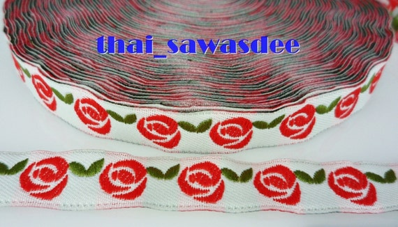 Red Rose White Ribbon Quilting Cloth Braid Trim Floral  4 Yards