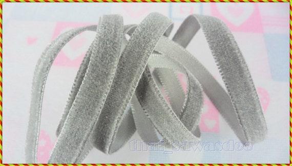 10 MM Gray  Velvet Ribbon Braid Embellishing Decoration Boutique 5 Yards