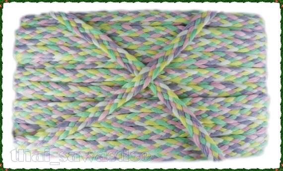 Yellow White Rainbow Plait Ribbon Tape Lace Decorate Trim 2 Yards