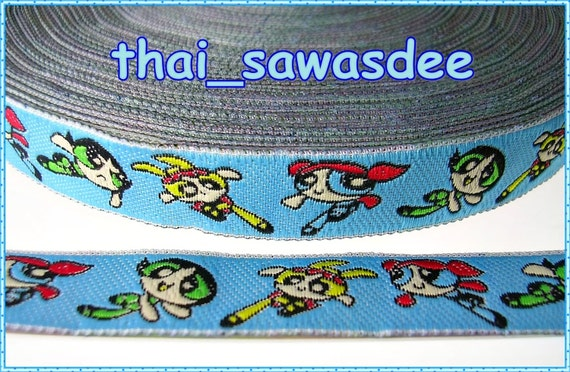 Powerpuff Girl Blue Jacquard Ribbon Anime Children Quilt 2 Yards