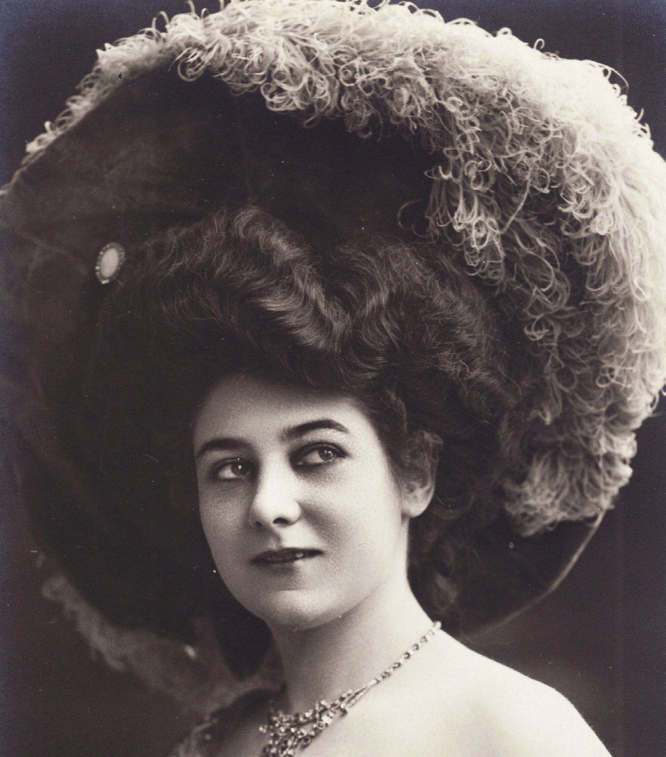 Beautiful Woman in Ostrich Plume Hat Early 1900s