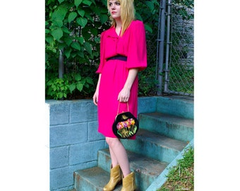"Vintage ""Leslie Fay"" Hot Pink 80's Chiffon Dress Size Small"