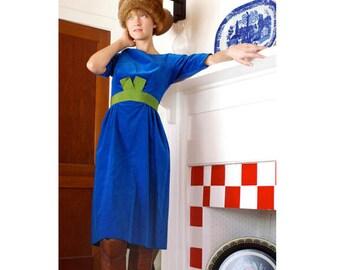 Vintage 1960's Blue Velvet Dress Size Ex-Small