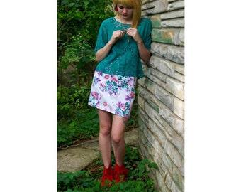 White Flowered Jean Skirt Size 26