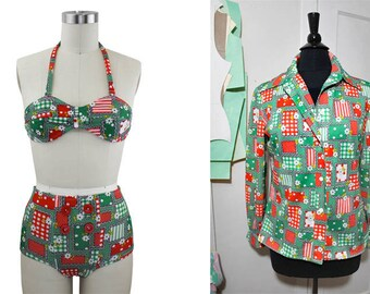 Handmade Recycled Upcycled Picnic High Waisted Swimsuit Size Small