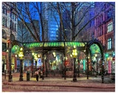 "Seattles Iron Pergola at Night Fine Art Photograph, available in 5x7"", 8x10"", 11x14"", 13x19"" and as a note card with envelope!"