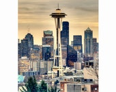 "Seattle Space Needle in Winter Morning, Fine Art Photograph, available in 5x7"", 8x10"", 11x14"" and note card with envelope!"