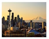 Seattle Spring Skyline. Very Fine Art Photograph, 11X14""