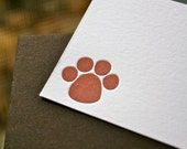 Paw Print Letterpress Enclosure Card
