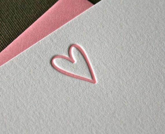 Heart Letterpress Notecards Set of 3