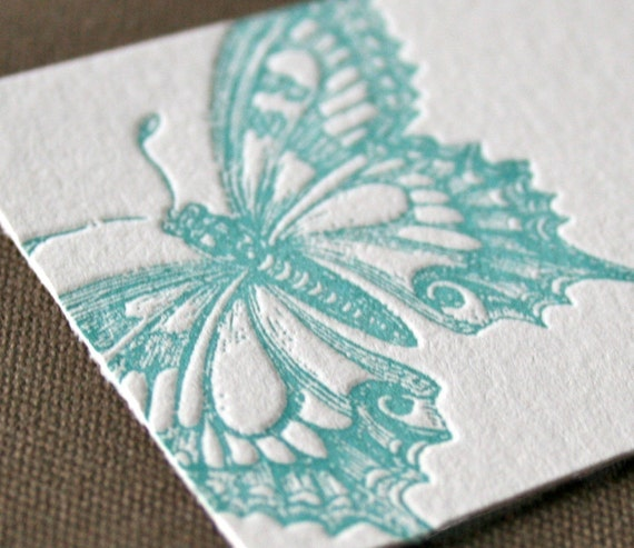 Butterfly Letterpress Enclosure Card
