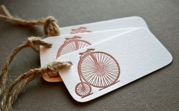 Antique Bicycle Letterpress Tag Set of 3